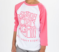 State Forty Eight - Youth Pink Baseball Tee