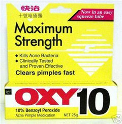 "OXY 10 ""Maximum Strength"" Ance Pimple Medication - 10% benzoyl peroxide"