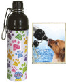 Pet Water Bottle - Puppy Paws (24 oz Black & White)