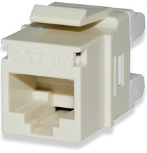 Category 6A unscreened high-density keystone jacks have been designed to meet the need for today's high-bandwidth applications. Category 6A connectors are slim in profile for the highest density applications, and are engineered to exceed all ANSI/TIA-568-C.2 category 6A requirements. Jacks support both T568A and T568B wiring schemes for maximum flexibility using an easy-to-read color-code wiring label. Special design features allow jack to be terminated with a standard 110 single-position tool or with the Signamax four-pair tool. The connec-tors contact design provides enhanced plug-to-jack connection integrity, protects against damage caused by insertion of 4- or 6-position plugs and is rated for a minimum of 750 plug insertions providing for the highest level of system reliability. Jacks feature the ability to mount either color-coded icons for service identification or dust covers to protect unused jacks from dust and other contaminants. Rear 110 contacts provide improved conductor retention and ease of termination. Jacks are supplied with a metallized plastic cable retention cap, which eliminates alien crosstalk for maximum performance.