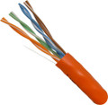 Category-5E, 24AWG, UTP, 8C Solid Bare Copper, 350MHz, Riser Rated, PVC Jacket, Orange, 1000ft. Pull Box