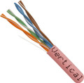 Category-5E, 24AWG, UTP, 8C Solid Bare Copper, 350MHz, Riser Rated, PVC Jacket, Pink, 1000ft. Pull Box