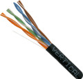 Category-5E, 24AWG, UTP, 8C Solid Bare Copper, 350MHz, Riser Rated, PVC Jacket, Black,1000ft. Pull Box