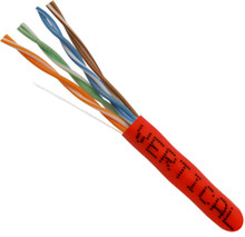 Category-5E, 24AWG, UTP, 8C Solid Bare Copper, 350MHz, Riser Rated, PVC Jacket, Red, 1000ft. Pull Box