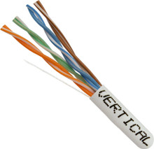 Category-5E, 24AWG, UTP, 8C Solid Bare Copper, 350MHz, Riser Rated, PVC Jacket, White, 1000ft. Pull Box