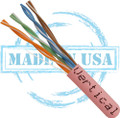 CAT5E, Plenum, MADE IN USA, 24AWG, UTP, 4 Pair, Solid Bare Copper, 350MHz, 1000ft Pull Box, Pink
