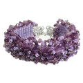 Whimsical Amethyst - Beaded Cuff Bracelet