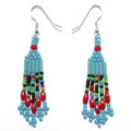 Turquoise Blue Multi - Beaded Earrings