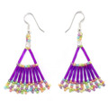 Royal Purple Variegated Fan - Beaded Earrings