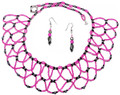 Lacy Pink Bib - Beaded Necklace Set