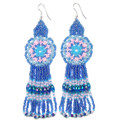 Fanciful Blue Medallion - Beaded Earrings