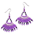 Lucious lavender - Beaded Fan Earrings