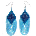 Teal Blue Waterfall - Beaded Earrings