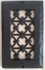 Iron Ring grille 8x4 opening size 10x6 overall size. Black finish.