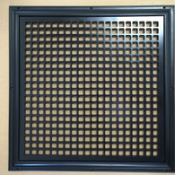 "Return Air Grille for and 18"" x 18"" opening. 21"" x 21"" overall size. Square design. Black finish."