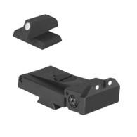 "Fully adjustable white dot sight fits LPA TRT cut, beveled blade w/serrations - .200"" Tall FLAT BASE Front Sight"