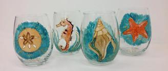 Ocean Themed Stemless Wine Glass Set