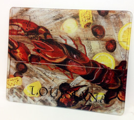 Crawfish on Newspaper Square Cutting Board