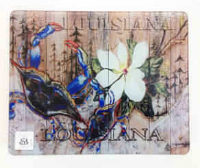 Crab and Magnolia on Wood Square Cutting Board