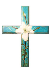 Hand Painted Easter Lily Cross
