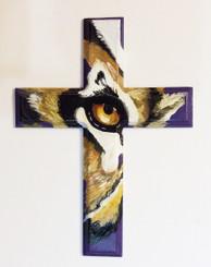 Hand Painted Tiger Eye Cross