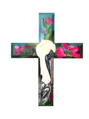 Hand Painted Pelican and Azaleas Cross