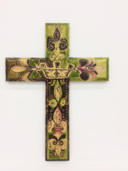 Hand Painted Crown and Fleur de Lis Cross