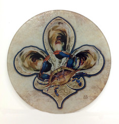 Blue Crab and Oyster Round Cutting Board