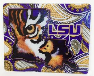 Louisiana Shaped LSU Tiger Eye Paisley