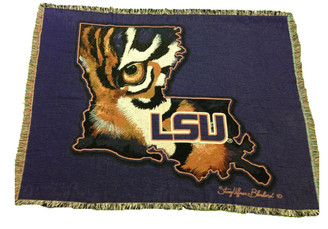 Afghan Blanket Louisiana Shaped LSU Tiger Eye