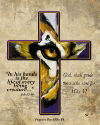 TIGER EYE CROSS PRAYERS FOR MIKE. THIS PIECE IS ON A MASONITE HARDBOARD TILE WITH GLOSSY FINISH 8X10