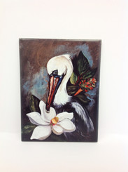 Pelican and Magnolia Design on Ceramic Tile