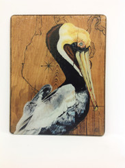 Pelican on Wood Map Cutting Board