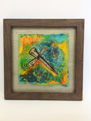 Framed Stacey Blanchard Original Nail Cross