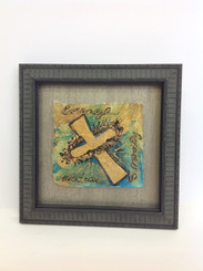 Framed Stacey Blanchard Original Courage, Wisdom, Serenity Cross