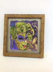 Framed Stacey Blanchard Original Mardi Gras Mask