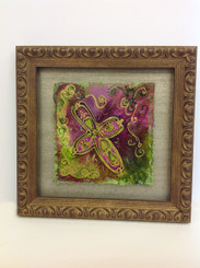 Framed Stacey Blanchard Original Pink and Green Cross