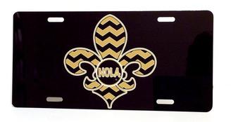 NOLA Chevron Fleur de Lis License Plate