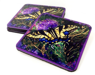 Butterfly Sparkle Collection Corkback Coaster Set