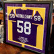This jersey was big. Really big.  It looked awesome.  We mounted it on gold suede then put a band of purple and gold on top.