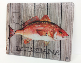 Red Fish on Planks Square Cutting Board