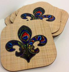 Peacock Fleur de Lis Corkback Coaster Set