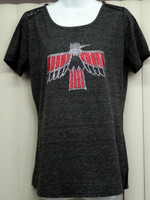 Pontiac Firebird wings down ladies glitter/rhinestone lace tee shirt