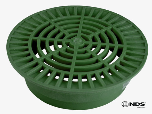 """NDS 10"""" Round Grate for 8"""" Pipe - Green (Box of 10)"""