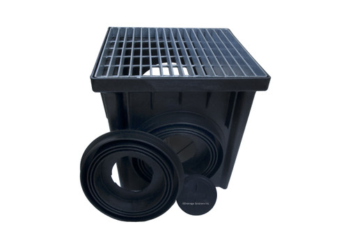 """NDS 24"""" Two Hole Catch Basin Kit w/ Galvanized Metal Grate"""