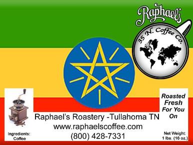 Certified Fair Trade Organic Ethiopian Yirgacheffe.