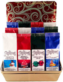 A great gift for you or someone on your list!  12 delicious flavors of Christmas in 2 oz. packs (each pack makes a full pot of coffee).  Includes one each of Christmas Traditions (Cinnamon spice & eggnog), Whiskey Christmas Cream, Chocolate Candy Cane, Jingle Bell Java (caramel, pecan, rum, cinnamon & vanilla), It's A Wonderful Spice (creamy cinnamon pumpkin), Spiced Butter Rum, Frosty's Favorite (cinnamon, graham & creamy nut),Tennessee Harvest (caramel, vanilla & rum), Southern Pecan, Caramel & Maple Swirl, and Chocolate Cherry Cordial.