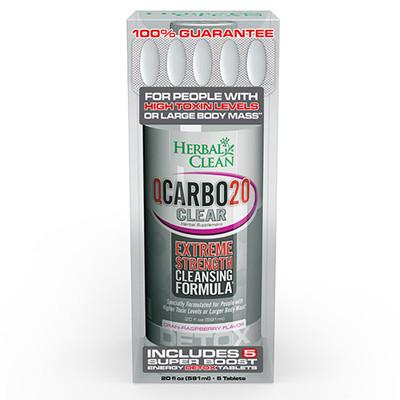Herbal Clean QCarbo20 Clear Cran-Raspberry, 20 fl oz (591ml)