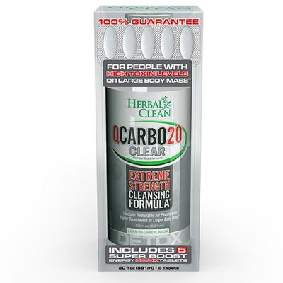 Herbal Clean QCarbo20 Clear Lemon-Lime, 20 fl oz (591ml)