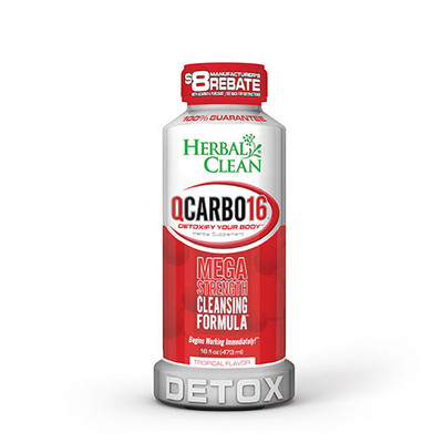Herbal Clean QCarbo16 Mega Strength with Eliminex Tropical 16 fl oz (473 ml)